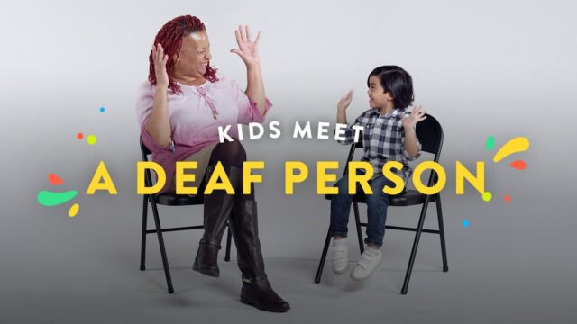 Kids interview a deaf person